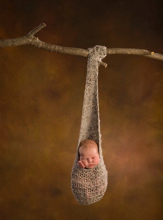 Knitting Photography Props : Hanging baby cocoon hand knit photography prop by goode props
