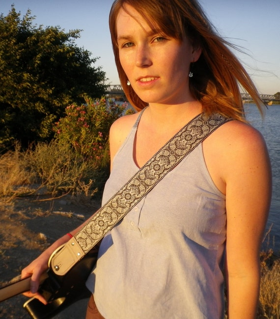 Sky Blue Victorian Guitar Strap with grey leather ends