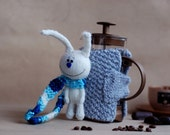White Hare Good Morning French Coffee Press Coffee Cozy  - pdf Knitting Pattern