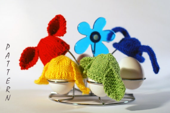 Bunny Hats for keeping warm breakfast eggs - 6 Knitting Patterns SALE. Easter knitting.