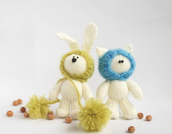 TWO FRIENDS : White cat in light blue hat  and White rabbit in a light green hat- pdf knitting pattern