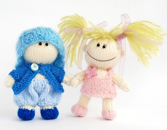 TWO DOLLS: Small funny gardener Doll and Small Boy Doll in the blue hat  - pdf knitting pattern