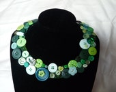 Green Button Collar Necklace