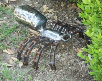 Spider Metal Sculpture Arachnid Metal Spider Garden Art Yard Art Found Objects