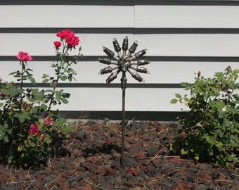 Spark Plug Flower Stake Metal Sculpture Yard Art Garden Art Found Objects FOREVER FLOWER