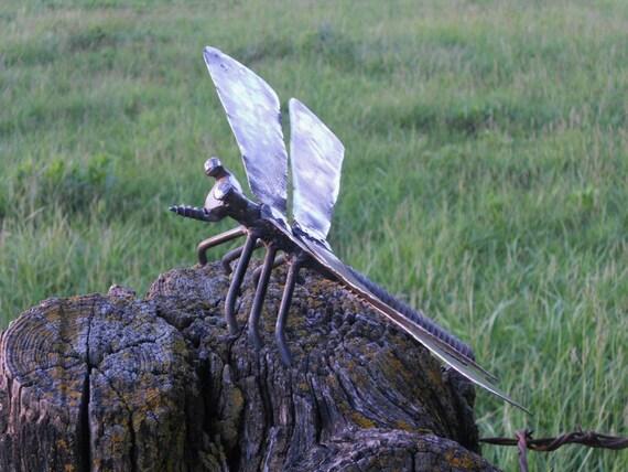 Dragonfly Metal Sculpture Yard Art Garden Art Found Objects Metal Dragonfly