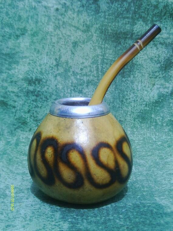 Items similar to 1 Gourd 1 Bombilla Straw Yerba Mate Tea ...  Items similar t...