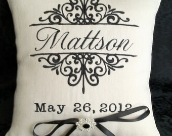 Personalized Ring Bearer Pillow II (RB105), custom, personalized, monogram, Mr. and Mrs. embroidery, ring bearer pillows,