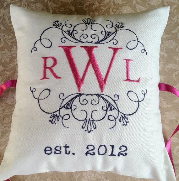 Personalized Mongram Ring Bearer Pillow III (RB107)