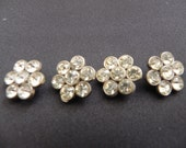 Vintage Four Rhinestone Flower Buttons ON RESERVE