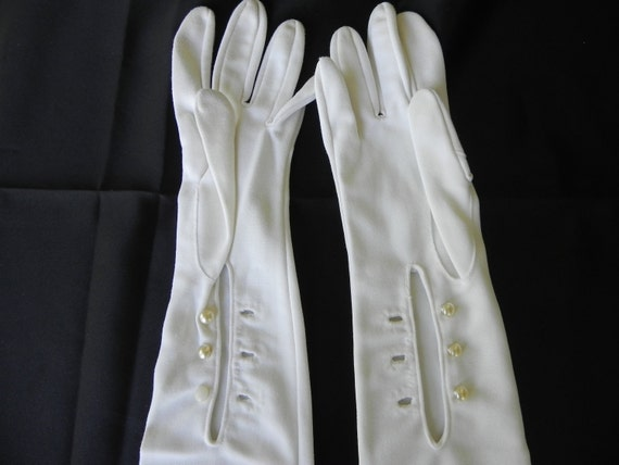 Opera Length Off White Hand Treat Imported Nylon Evening Gloves