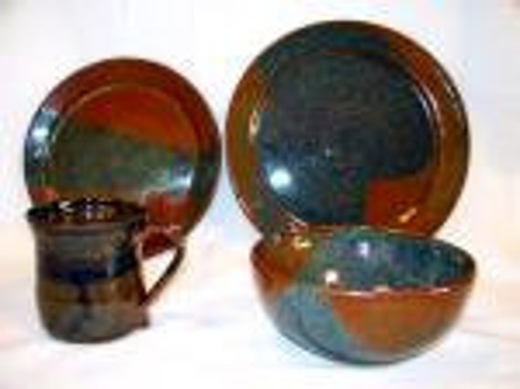 Pottery place setting. 1 lunch plate,1 dinner plate,1 bowl,1 cup or tumbler. Buy all 4 pieces, or just the cup, bowl or plate.