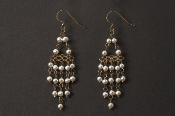 Vintage Inspired Pearl Chandelier Earrings