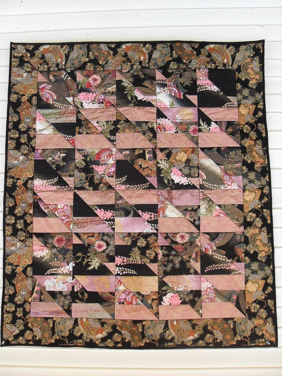 Wall Hanging, Oriental Fabric, Table Topper, Japanese