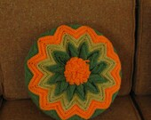 Funky Retro Crochet Throw Pillow - Avadaco Green, Harvest Gold & Orange,