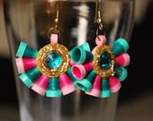 Sea green and pink shaded conical bead danglers with shimmer and green center.