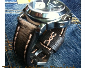 Handmade Rust Vintage Style Leather Strap Band for Panerai or big watch With Buckle.