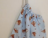 Soft blue P.E/Sports bag made with genuine Beatrix Potter material with cute squirrels
