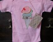 Ice Cream Cone Hand Applique Girl Onesie- Pink, Short-Sleeved, 3-6 Months