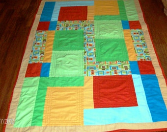 Color Block Quilt with Geometrics