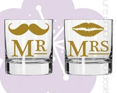 Mr. and Mrs. 'Stache & Lips Wedding Gift Set Rocks Glasses - Set of 2