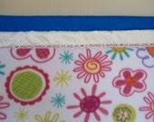 "Personalized Baby Blanket, Girl Flower Fleece, Custom Embroidered,  30"" x 40"""
