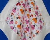 """Lovey Satin Baby Blanket Personalized,  Ladybugs and Flowers, Custom Embroidered, 16"""" x 16"""""""