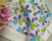 "Lovey Baby Blanket Personalized,  Dancing Flowers, Custom Embroidered, 16"" x 16"""