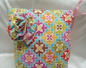 """Large Diaper Wet Bag, Pink Yellow Purple Flowers, 13"""" x 16"""", Babies and Toddlers,"""