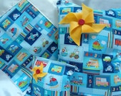 Baby Blanket Lightweight Lovey, Large Wet Bag, Reusable Snack Bag Set, Boats, Fire Engines, Trains, Airplanes, Buses, Cars