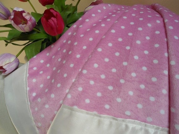 "Personalized Baby Blanket Girl, Pink Dots Minky, Custom Embroidery,  30"" x 40"""