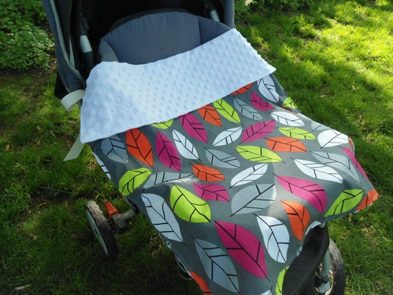 "Car Seat Blanket with Ties, Stroller Blanket, Baby Carrier Blanket, Colorful Leaves, Boy, 23"" x 29"""