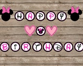 Minnie mouse Happy Birthday Banner - 5 inch circles