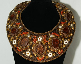 SALE, Queen Boudicca Collar, Beaded Embroidery, Best Quality Amber Cabochons, Hand Carved Bone Flowers, Coral and Peking Glass Beaded Collar