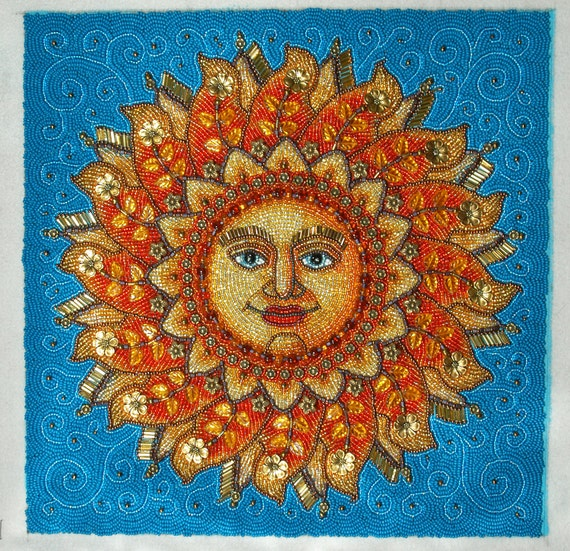 Sun Face,  Beaded Embroidery Picture
