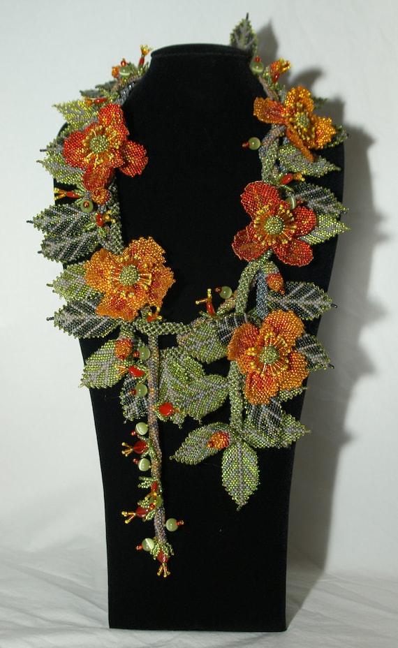 RESERVED FOR JOAN, La Primavera, Bead weaving, Necklace, Wearable Art