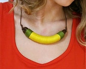 Reserved for Jersenia - Tribal / Ethnic Inspired Yellow  And Green Necklace