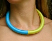 Tribal / Ethnic Inspired Simple  Yellow and Blue Necklace