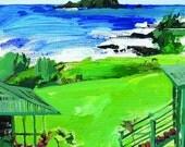 Acrylic Painting of the View from the Trevassa (Hotel Hana Maui) resort.