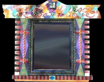 Hand Painted Mirror with Wood Frame