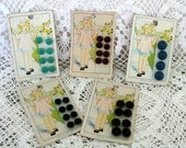 5 Cards Vintage Ultra Kraft Buttons Sweet Child Graphic