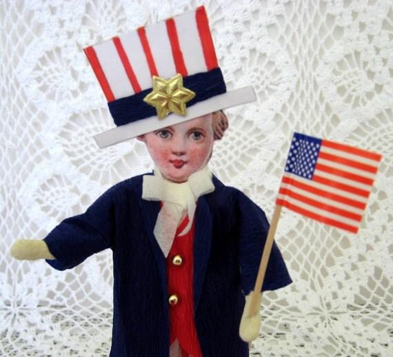Folksy Antique Style Spun Cotton Patriotic Boy Figure