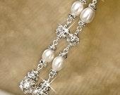 Sterling Silver Wedding Jewellery. White Pearl Earrings. Bridal Earrings, Rhinestone Bridal Earrings. Long Freshwater Pearl Earrings.