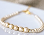 Bridal Bracelet. Ivory Pearl Bracelet. Pearl Wedding Bracelet. Wedding Jewellery. Gold Bracelet, Wedding Jewelry. Champagne Bracelet.