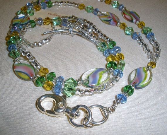 Oval Lampwork Glass Beads with Colorful Swirls and Crystals  Beaded  ID Badge Lanyard  Asymmetrical Necklace