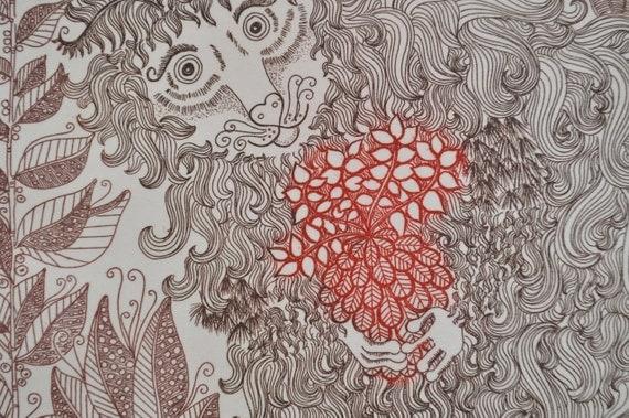 """Felicity Rainnie 1970's  etching, """" Wildebeest"""""""
