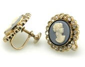 Vintage Earrings Signed Coro Cameo Screwback
