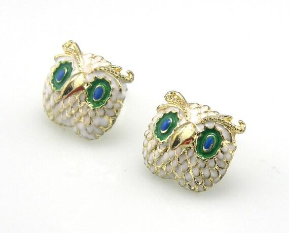 Vintage Rhinestones Blue Eyes Owl Stud Earrings