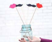 Gender Reveal Party Photo Booth Props: Lips and Mustache