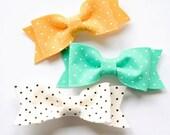 Polka Dot Felt Bow Clips: Choose Two Colors